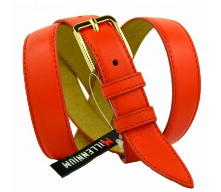 """Женский кожаный ремень для платья узкий 25мм """"Ачинск"""", оранжевый (арт. 103762) Millennium"""