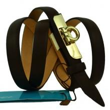 """Женский кожаный ремень для платья узкий 15мм """"Артём"""", темно-коричневый (арт. 103759)"""