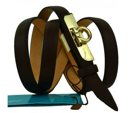 """Женский кожаный ремень для платья узкий 15мм """"Артём"""", темно-коричневый (арт. 103759) Mayer"""