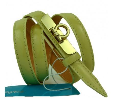"""Женский кожаный ремень для платья узкий 15мм """"Альметьевск"""", коричневый (арт. 103755) Mayer"""