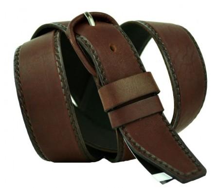 """Женский джинсовый кожаный ремень """"Абакан"""",  темно-коричневый (арт. 103754) New Style"""