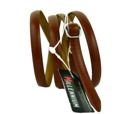 """Женский кожаный ремень для платья узкий 10мм """"Миннеаполис"""", коричневый (арт. 103748) Millennium"""