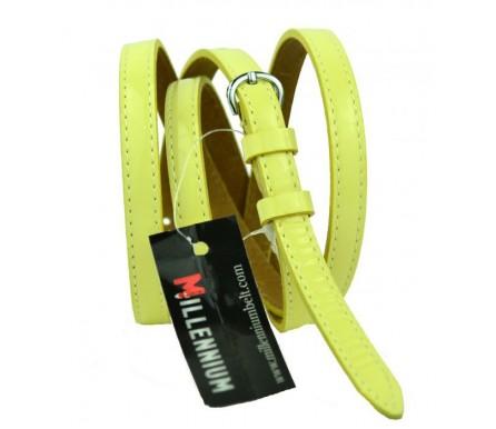 """Женский кожаный ремень для платья узкий 10мм """"Колорадо-Спрингс"""", желтый (арт. 103743) Millennium"""