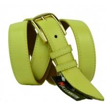 """Женский кожаный ремень для платья узкий 25мм """"Верджиния-Бич"""", желтый (арт. 103741)"""