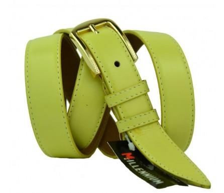 """Женский кожаный ремень для платья узкий 25мм """"Верджиния-Бич"""", желтый (арт. 103741) Millennium"""