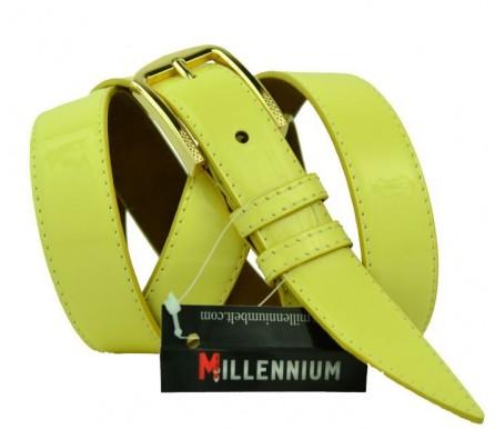 """Женский кожаный ремень для платья узкий 25мм """"Меса"""", желтый (арт. 103740) Millennium"""
