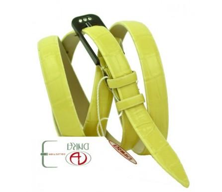 "Женский кожаный ремень для платья узкий 15мм ""Альбукерке"", желтый (арт. 103734) DNKA"