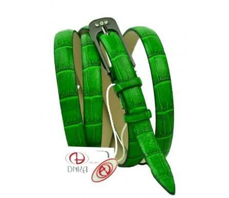 """Женский кожаный ремень для платья узкий 15мм """"Лас-Вегас"""", зеленый (арт. 103732) DNKA"""