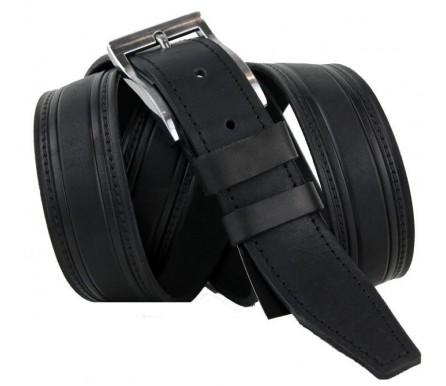 """Мужской брючный классический кожаный ремень большого размера """"Прокопьевск"""", черный (арт. 102906) New Style"""
