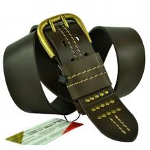 """Широкий мужской кожаный ремень для джинс 45мм """"Новочебоксарск"""", темно-коричневый (арт. 102885)"""