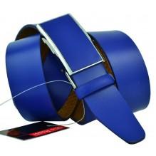 """Мужской брючный кожаный ремень с полуавтоматической пряжкой (зажим) """"Нефтеюганск"""", синий (арт. 102875)"""