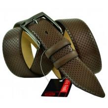 """Мужской классический кожаный ремень для брюк """"Набережные Челны"""", темно-коричневый (арт. 102869)"""