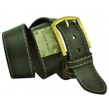 """Широкий мужской кожаный ремень для джинс 45мм """"Керчь"""", темно-оливковый (арт. 102844)"""