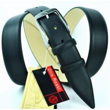 """Мужской брючный классический кожаный ремень большого размера """"Неаполь"""", черный (арт. 102999)"""