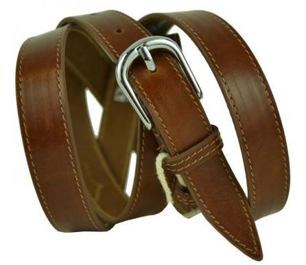 """Женский кожаный ремень для платья узкий 20мм """"Колорадо-Спрингс"""", темно-коричневый (арт. 103422) Diezz"""