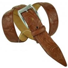 """Мужской классический кожаный ремень для брюк """"Оренбург"""", коричневый (арт. 102720)"""