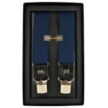 """Мужские премиум подтяжки для костюма в подарочной упаковке """"Энгельс"""", цвет темно-синий (арт. 102637)"""