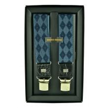 """Мужские премиум подтяжки для костюма в подарочной упаковке """"Хасавюрт"""", цвет синий (арт. 102626)"""