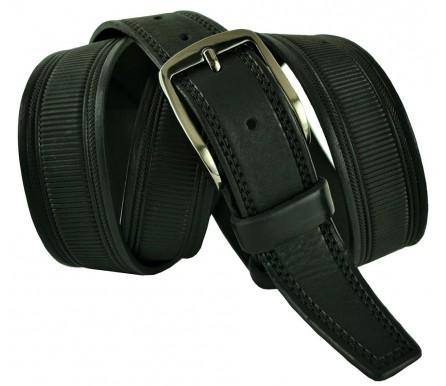 """Мужской брючный классический кожаный ремень большого размера """"Саратов"""", черный (арт. 102599) New Style"""