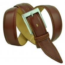 """Мужской классический кожаный ремень для брюк """"Волжский"""", коричневый (арт. 102496)"""