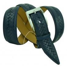 """Мужской классический кожаный ремень для брюк """"Владикавказ"""", темно-синий (арт. 102492)"""