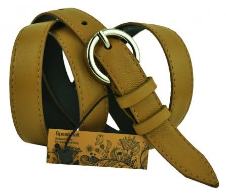 """Женский кожаный ремень для платья узкий 20мм """"Стамбул"""", коричневый (арт. 103283) Elpaso"""