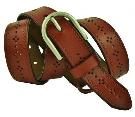 """Женский джинсовый кожаный ремень 30мм """"Пенза"""",  коричневый (арт. 103221) Elpaso"""