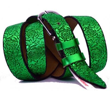 """Женский кожаный ремень узкий 25мм """"Благовещенск"""", салатовый (арт. 103771)"""