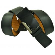"""Мужской брючный кожаный ремень большого размера с полуавтоматической пряжкой (зажим) """"Набережные Челны"""", черный (арт. 102227)"""