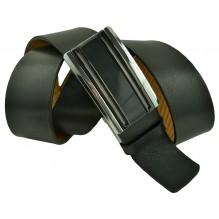 """Мужской брючный кожаный ремень большого размера с полуавтоматической пряжкой (зажим) """"Мытищи"""", черный (арт. 102226)"""