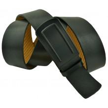 """Мужской брючный кожаный ремень большого размера с полуавтоматической пряжкой (зажим) """"Муром"""", черный (арт. 102225)"""