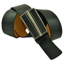 """Мужской брючный кожаный ремень большого размера с полуавтоматической пряжкой (зажим) """"Миасс"""", черный (арт. 102222)"""