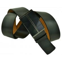 """Мужской брючный кожаный ремень большого размера с полуавтоматической пряжкой (зажим) """"Махачкала"""", черный (арт. 102221)"""