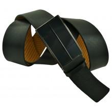 """Мужской брючный кожаный ремень большого размера с полуавтоматической пряжкой (зажим) """"Майкоп"""", черный (арт. 102220)"""