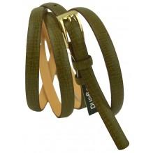 """Женский кожаный ремень для платья узкий 10мм """"Эссен"""", темно-оливковый (арт. 103039)"""