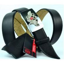 Мужской ремень для брюк с полуавтоматической пряжкой (зажим) (арт. 100374)