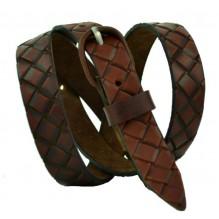Женский узкий кожаный ремень с узором (арт. 101305)