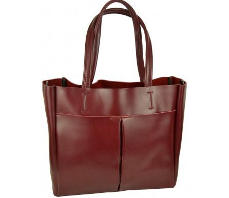Кожаная женская сумка (арт. 201954) цвет красный
