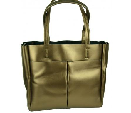 Кожаная женская сумка (арт. 201955) цвет золотой