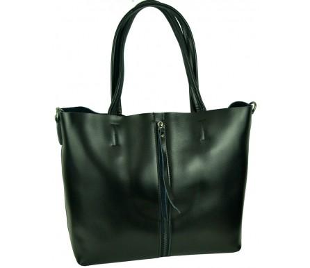 Кожаная женская сумка (арт. 201714) цвет черный