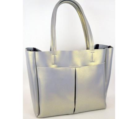 Кожаная женская сумка (арт. 201713) цвет серый