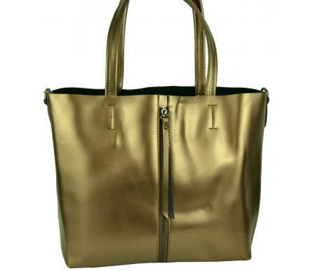 Кожаная женская сумка (арт. 201957) цвет золотой