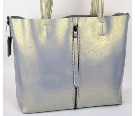 Кожаная женская сумка (арт. 201959) цвет серый