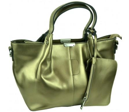 Кожаная женская сумка (арт. 201962) цвет серебрянный