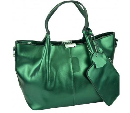 Кожаная женская сумка (арт. 201727) цвет зеленый