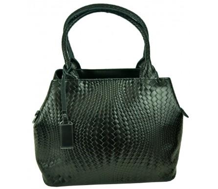 Кожаная женская сумка (арт. 201963) цвет черный