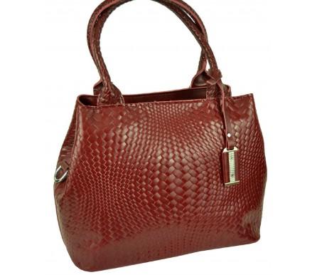 Кожаная женская сумка (арт. 201964) цвет красный