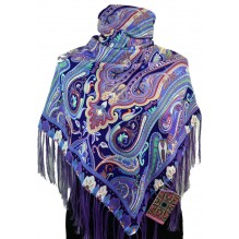 Шерстяной платок с кистями 120см ЕВФРОСИНИЯ (арт. 200570)