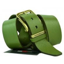 Мужской кожаный ремень Tommy Hilfiger зеленый (арт. 104260)