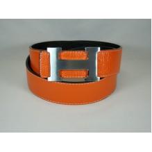 Мужской кожаный ремень Hermes оранжевый (арт. 104155)